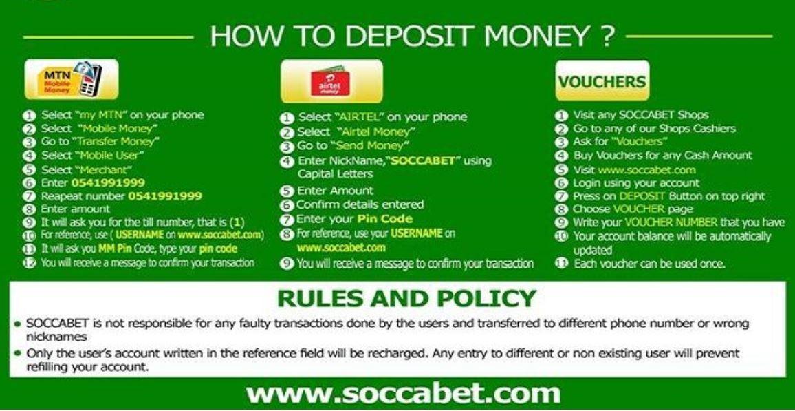 Deposit SoccaBet
