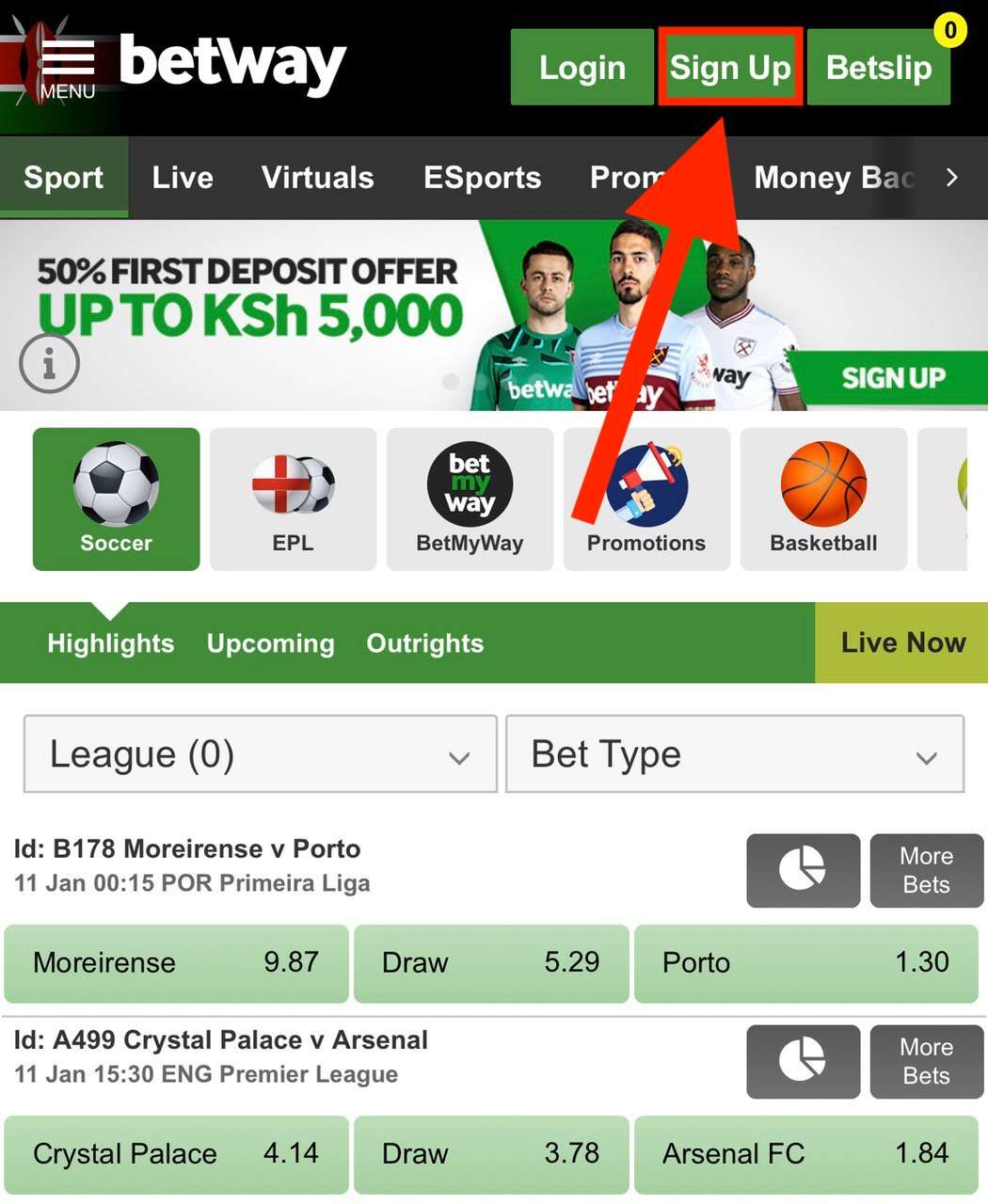 Betway Registration on the Site